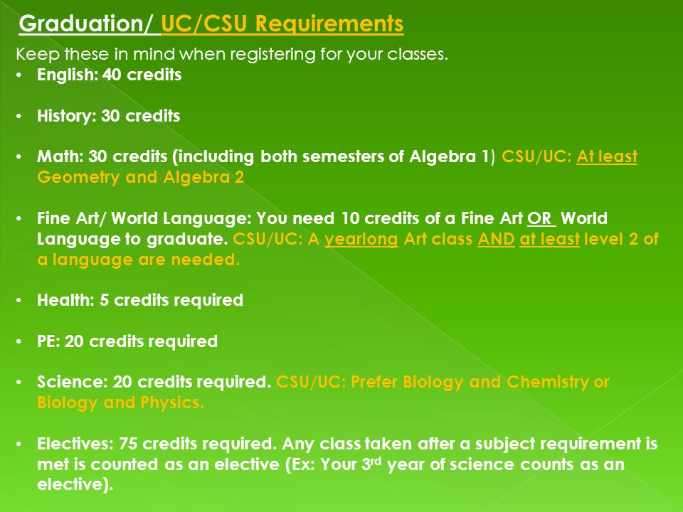 Graduation/ UC/CSU Requirements Keep these in mind when registering for your classes.