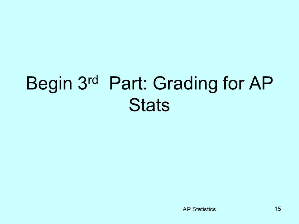 Begin 3 rd Part: Grading for AP Stats AP Statistics 15