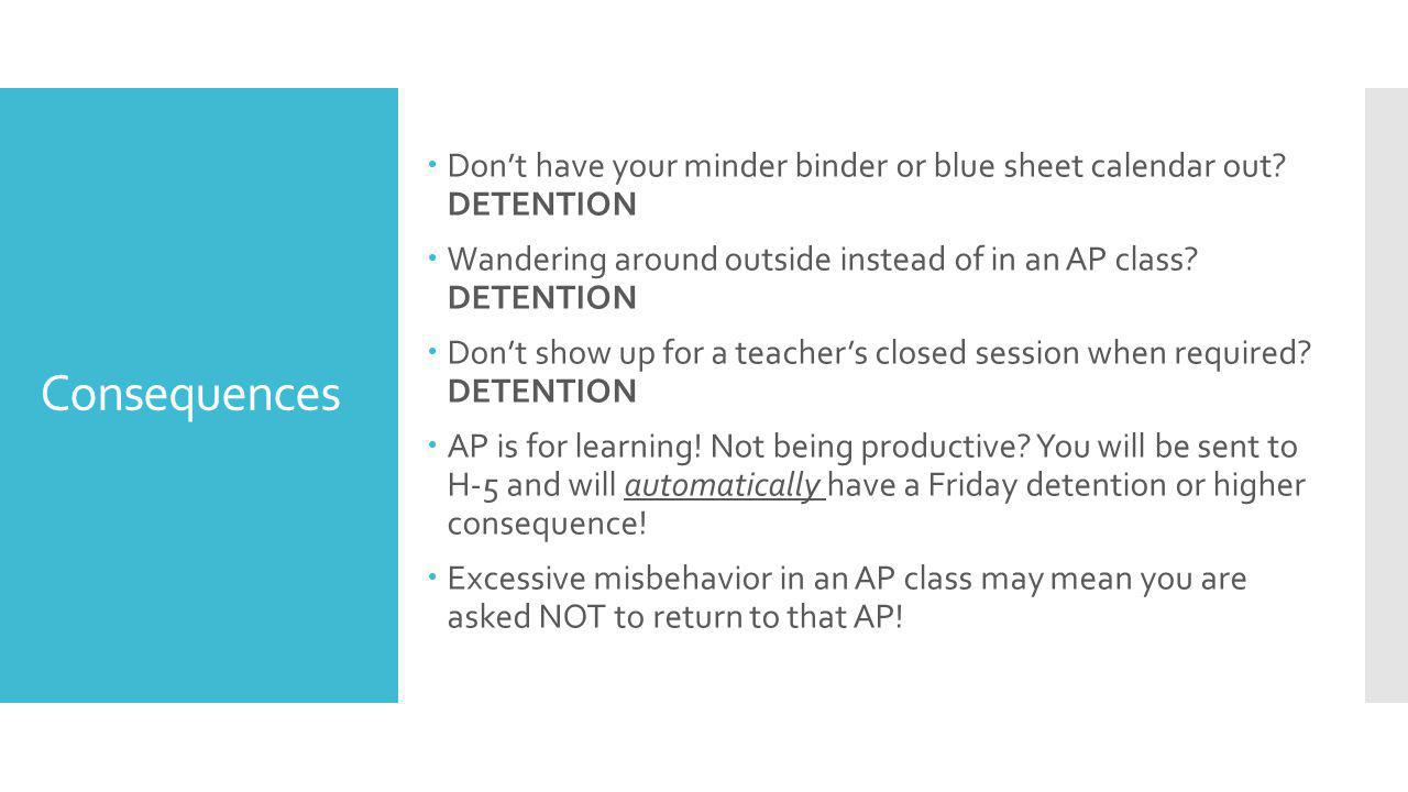 Consequences  Don't have your minder binder or blue sheet calendar out.