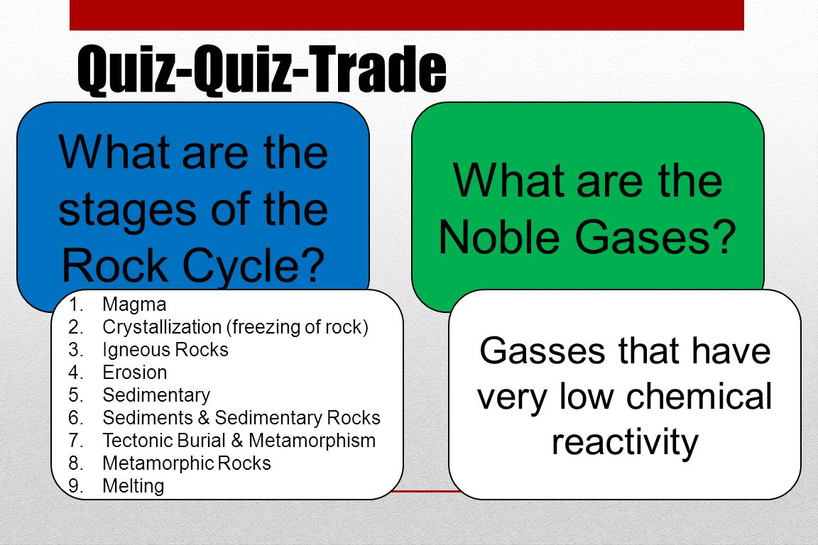 Quiz-Quiz-Trade What are the stages of the Rock Cycle.