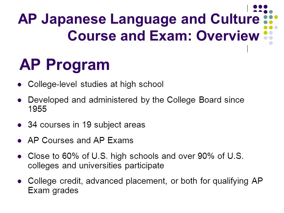 AP Japanese Language and Culture Course and Exam: Specifications Specifications and format Kanji list