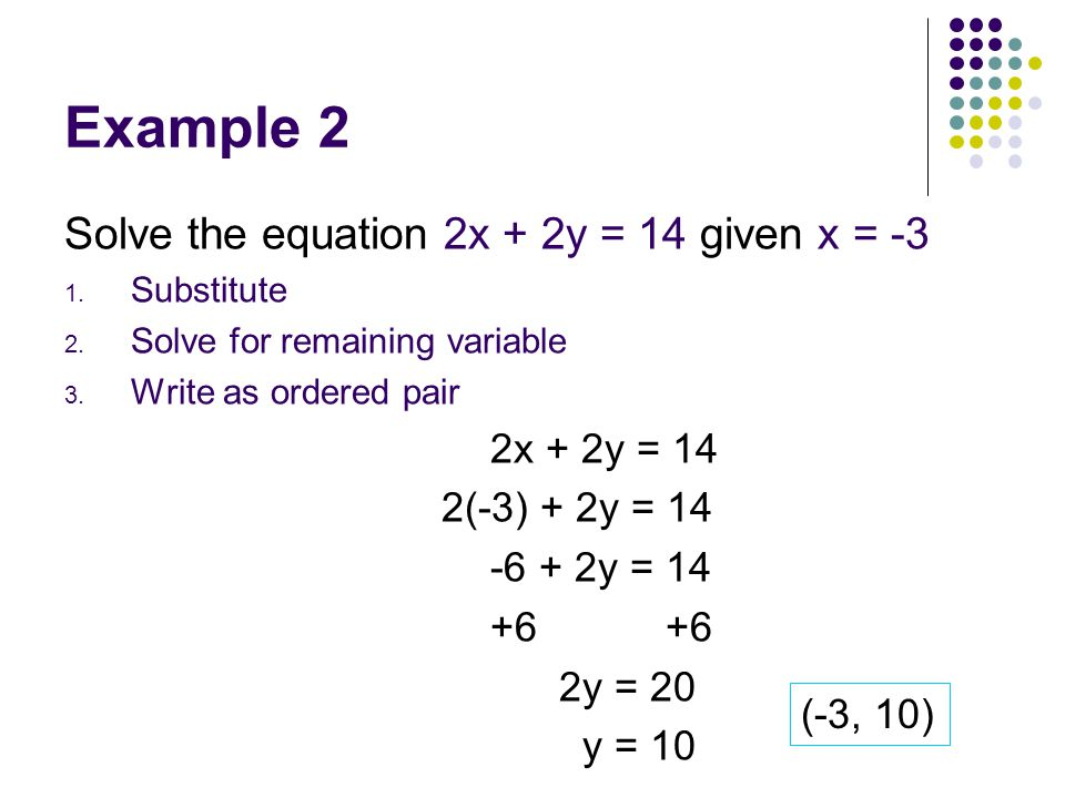 Example 2 Solve the equation 2x + 2y = 14 given x = -3 1. Substitute 2. Solve for remaining variable 3. Write as ordered pair 2x + 2y = 14 2(-3) + 2y