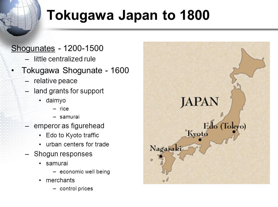 Tokugawa Japan to 1800 Shogunates - 1200-1500 –little centralized rule Tokugawa Shogunate - 1600 –relative peace –land grants for support daimyo –rice