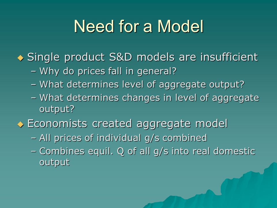 Need for a Model  Single product S&D models are insufficient –Why do prices fall in general.