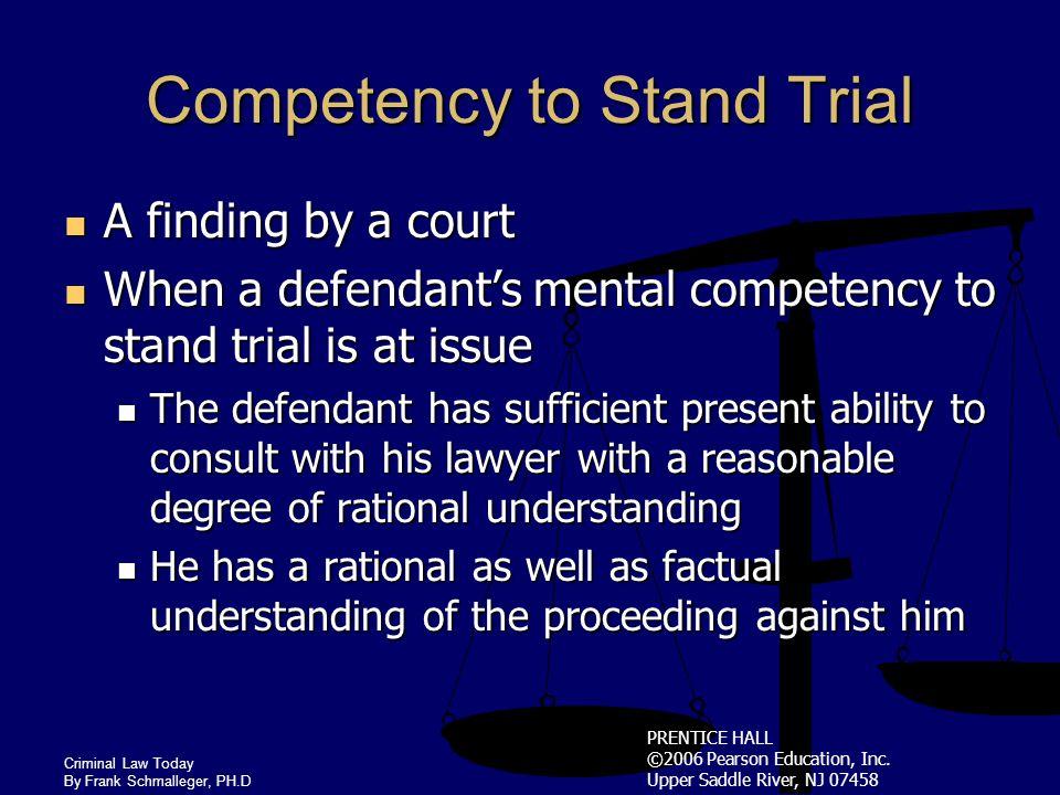 PRENTICE HALL ©2006 Pearson Education, Inc. Upper Saddle River, NJ 07458 Criminal Law Today By Frank Schmalleger, PH.D Defense of Insanity Criminal La