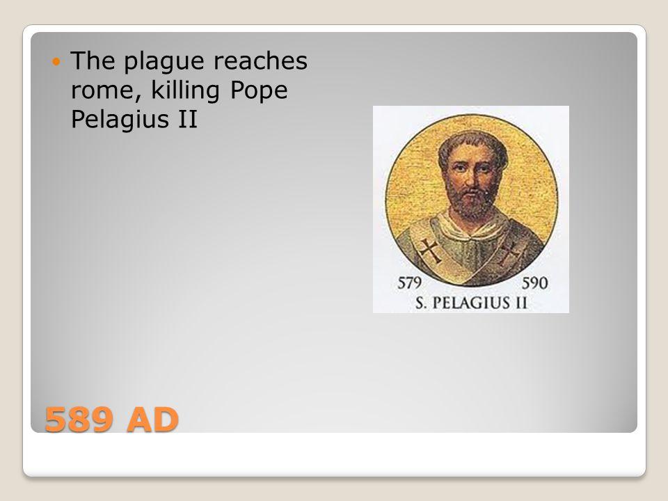 589 AD The plague reaches rome, killing Pope Pelagius II