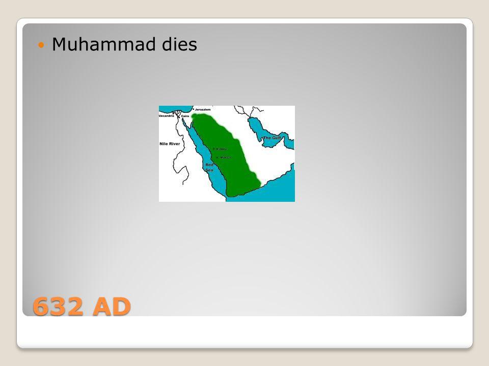 632 AD Muhammad dies