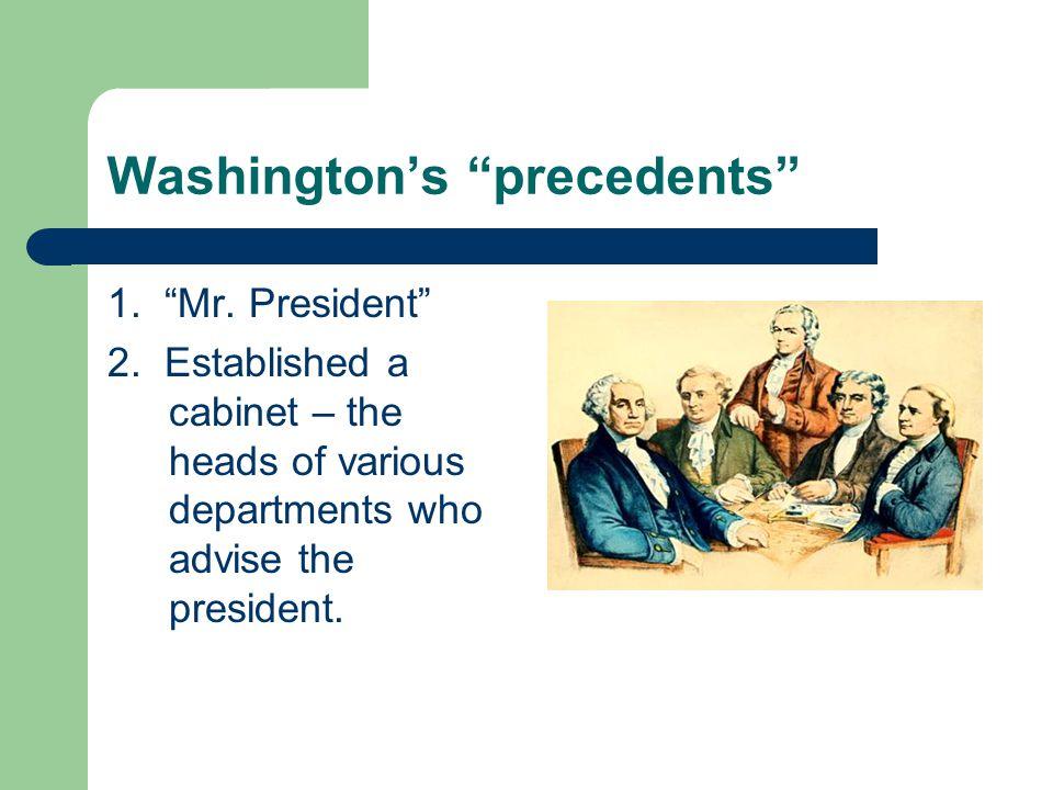 Washington's precedents 1. Mr. President 2.