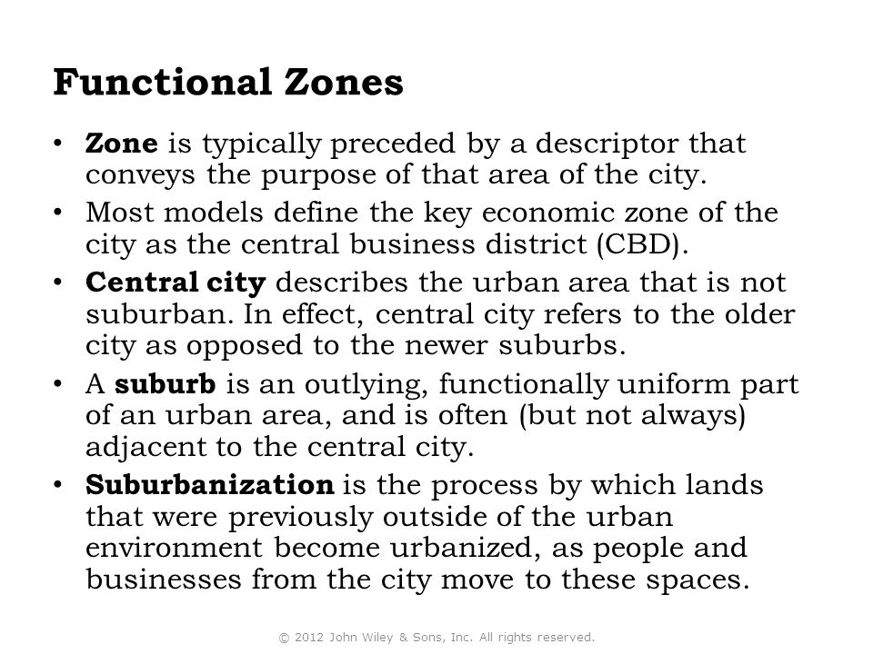 Functional Zones Zone is typically preceded by a descriptor that conveys the purpose of that area of the city.