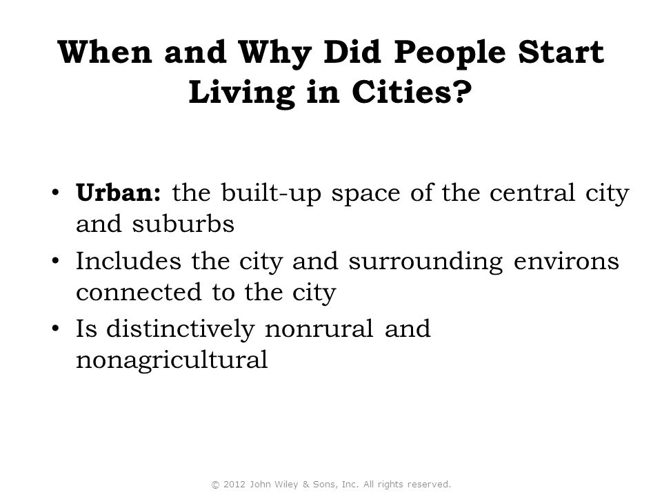 Urban: the built-up space of the central city and suburbs Includes the city and surrounding environs connected to the city Is distinctively nonrural a