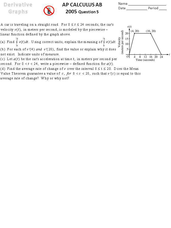 AP CALCULUS AB 2005 Question 5 Name ____________________ Date ___________ Period ____