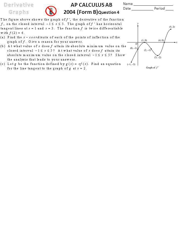 AP CALCULUS AB 2004 (Form B) Question 4 Name ____________________ Date ___________ Period ____