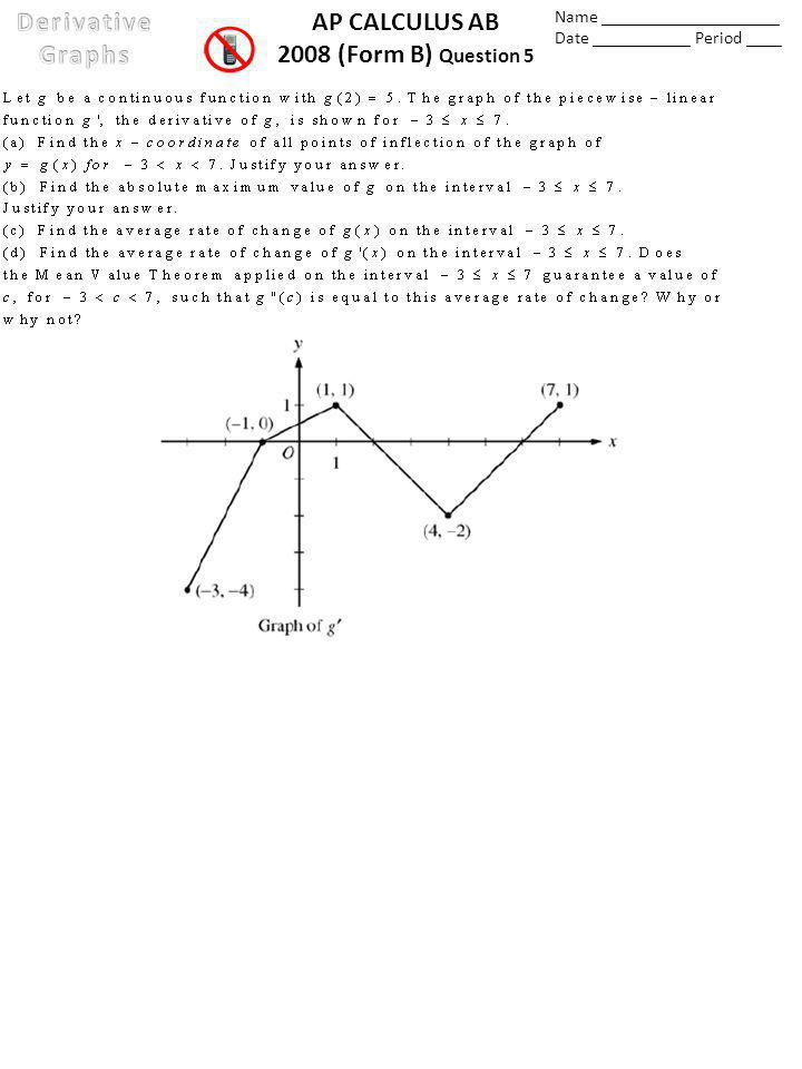 AP CALCULUS AB 2008 (Form B) Question 5 Name ____________________ Date ___________ Period ____