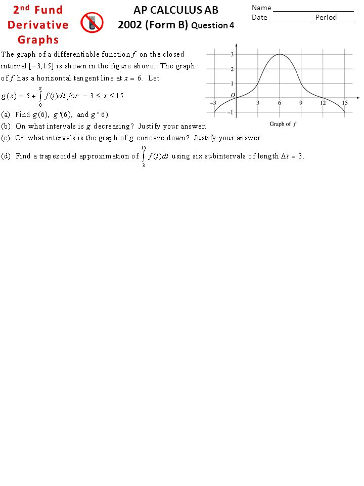 AP CALCULUS AB 2002 (Form B) Question 4 Name ____________________ Date ___________ Period ____