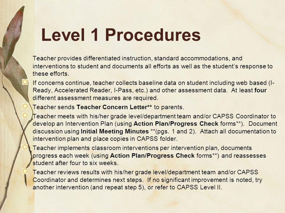 Level 1 Procedures Teacher provides differentiated instruction, standard accommodations, and interventions to student and documents all efforts as well as the student's response to these efforts.