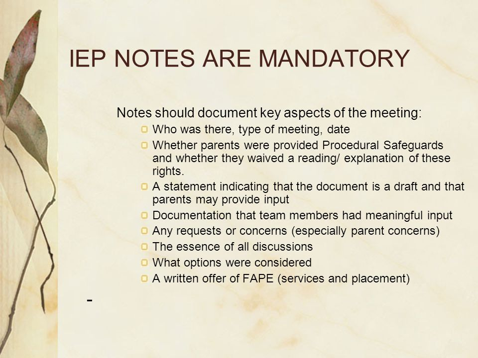 IEP NOTES ARE MANDATORY Notes should document key aspects of the meeting: Who was there, type of meeting, date Whether parents were provided Procedural Safeguards and whether they waived a reading/ explanation of these rights.