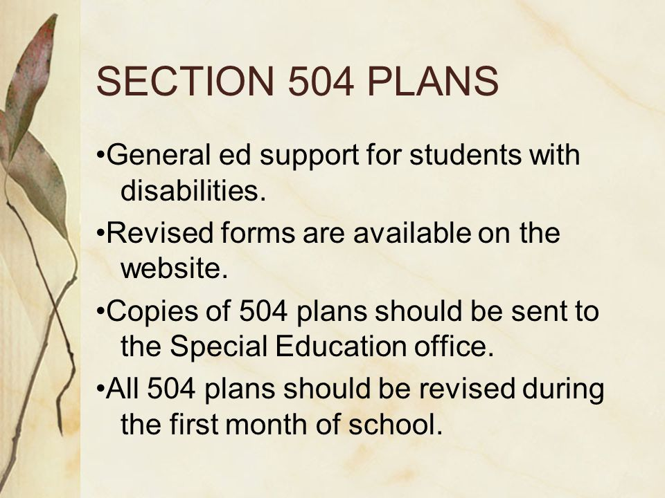 SECTION 504 PLANS General ed support for students with disabilities.