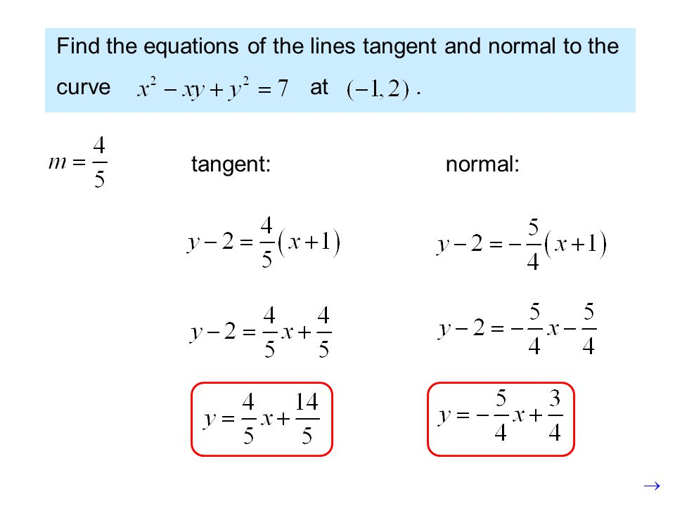 Find the equations of the lines tangent and normal to the curve at. tangent:normal: