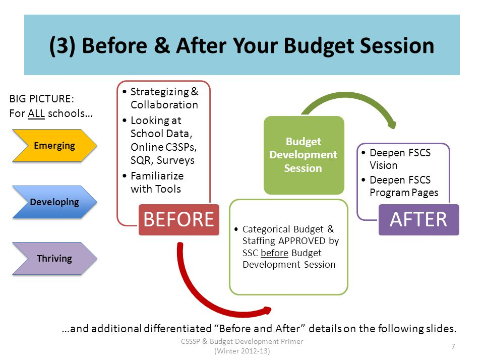 (3) Before & After Your Budget Session Strategizing & Collaboration Looking at School Data, Online C3SPs, SQR, Surveys Familiarize with Tools BEFORE Categorical Budget & Staffing APPROVED by SSC before Budget Development Session Budget Development Session Deepen FSCS Vision Deepen FSCS Program Pages AFTER Emerging Developing Thriving BIG PICTURE: For ALL schools… …and additional differentiated Before and After details on the following slides.