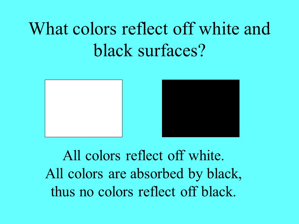 Now see if you can predict how black and white will look through the red and green filters. White looks red through red filter and green through the g