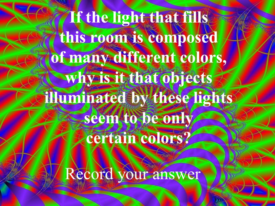 Use the diffraction grating and look at the room lights.