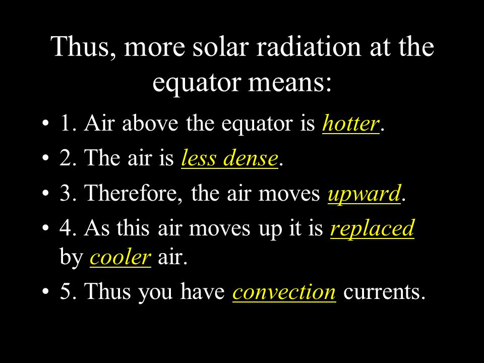 Thus, more solar radiation at the equator means: 1. Air above the equator is hotter. 2. The air is less dense. 3. Therefore, the air moves upward. 4.