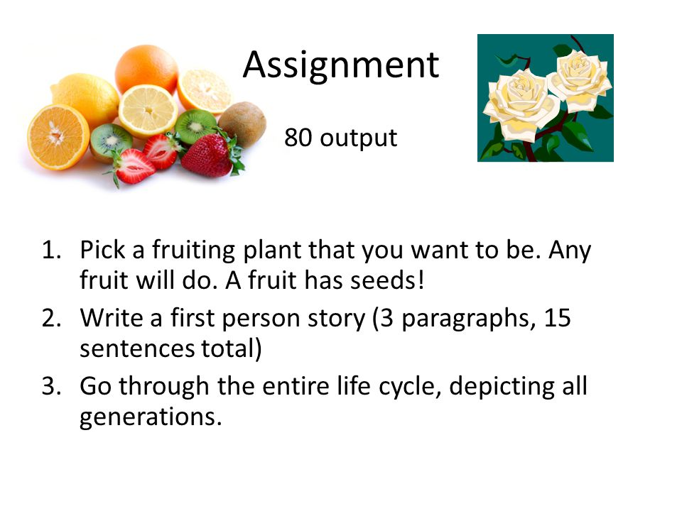 Assignment 80 output 1.Pick a fruiting plant that you want to be.