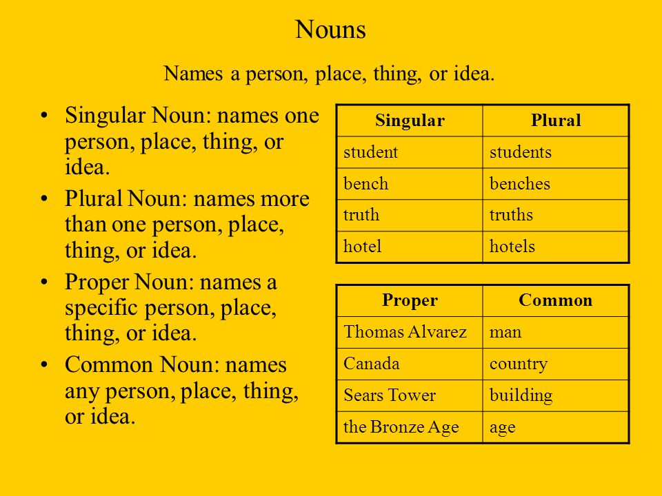 Nouns Singular Noun: names one person, place, thing, or idea.