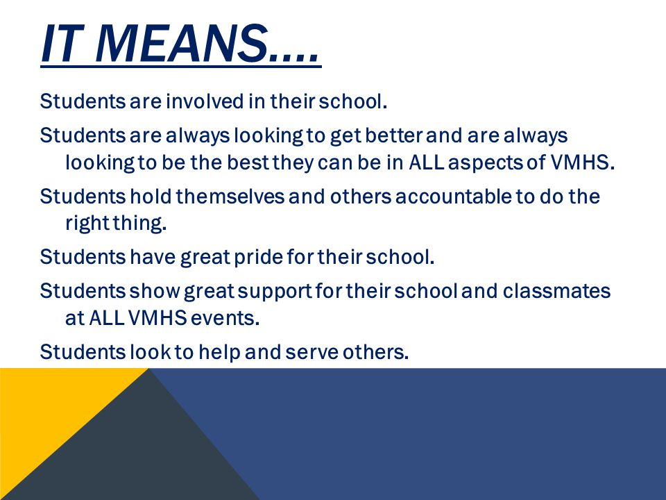 IT MEANS…. Students are involved in their school.