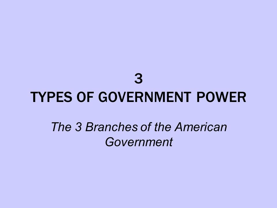3 TYPES OF GOVERNMENT POWER The 3 Branches of the American Government