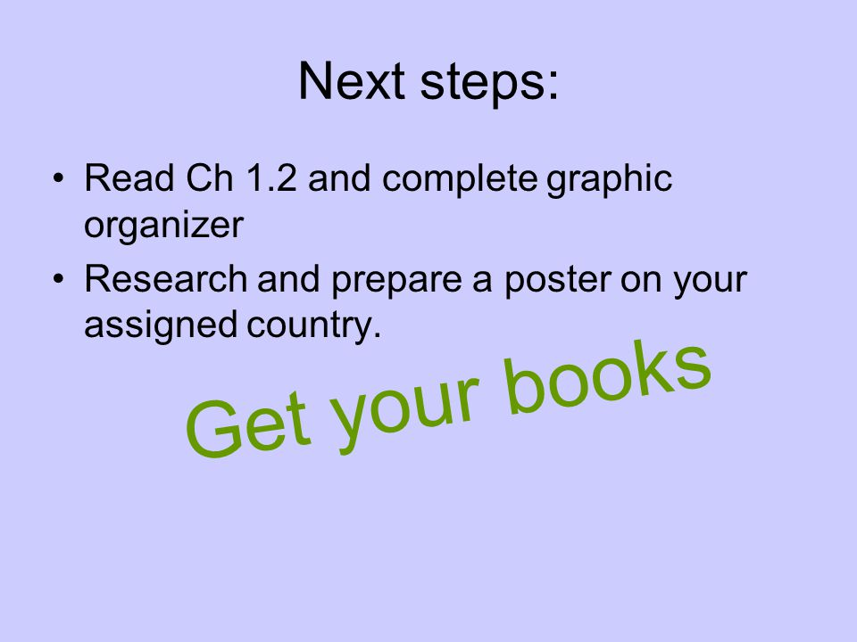 Next steps: Read Ch 1.2 and complete graphic organizer Research and prepare a poster on your assigned country.