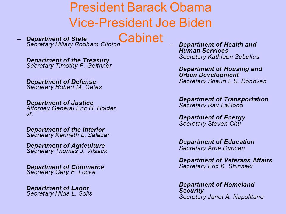 President Barack Obama Vice-President Joe Biden Cabinet –Department of State Secretary Hillary Rodham Clinton Department of the Treasury Secretary Timothy F.