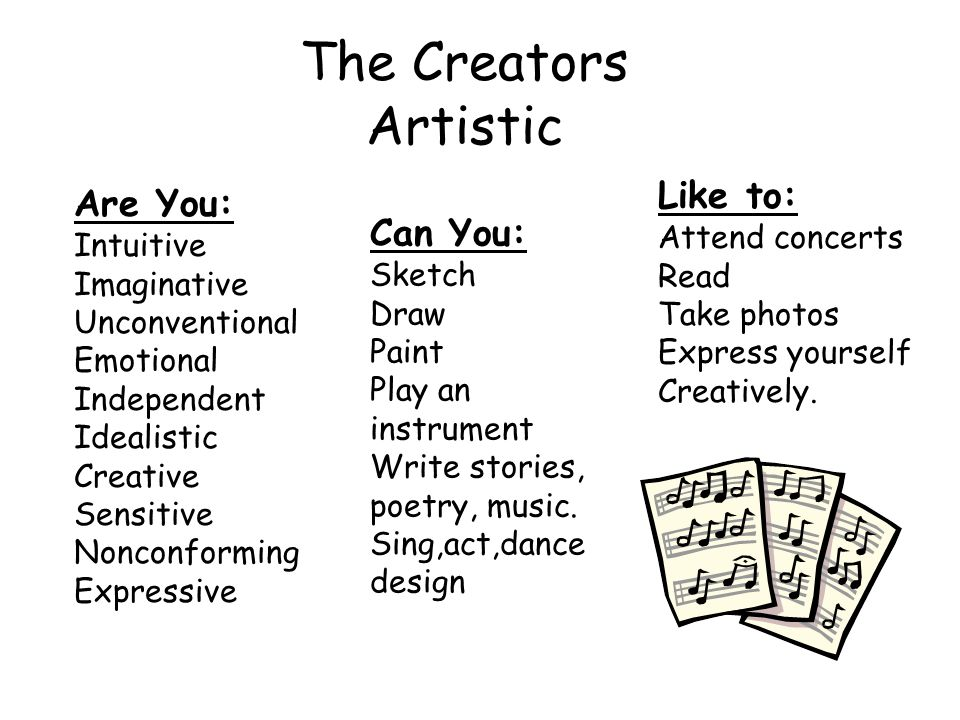 The Creators Artistic Are You: Intuitive Imaginative Unconventional Emotional Independent Idealistic Creative Sensitive Nonconforming Expressive Can You: Sketch Draw Paint Play an instrument Write stories, poetry, music.