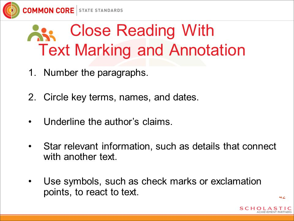42 1.Number the paragraphs. 2.Circle key terms, names, and dates.