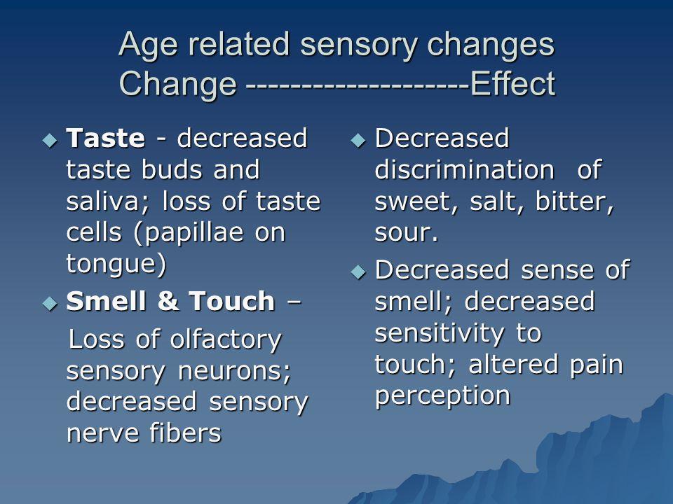 Age related sensory changes Change --------------------Effect  Taste - decreased taste buds and saliva; loss of taste cells (papillae on tongue)  Sm