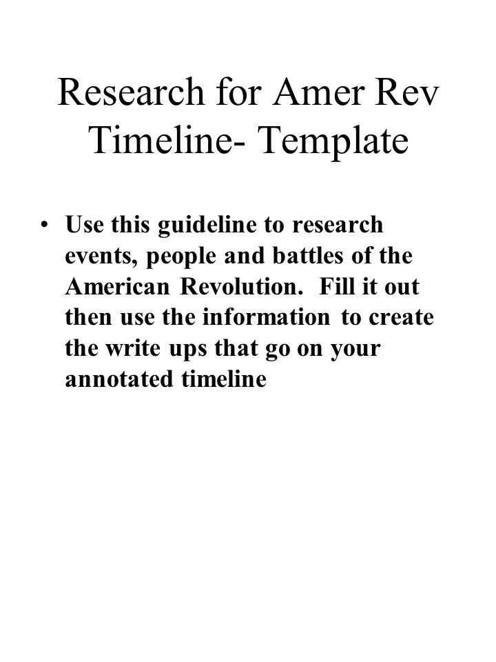 Research for Amer Rev Timeline- Template Use this guideline to research events, people and battles of the American Revolution.