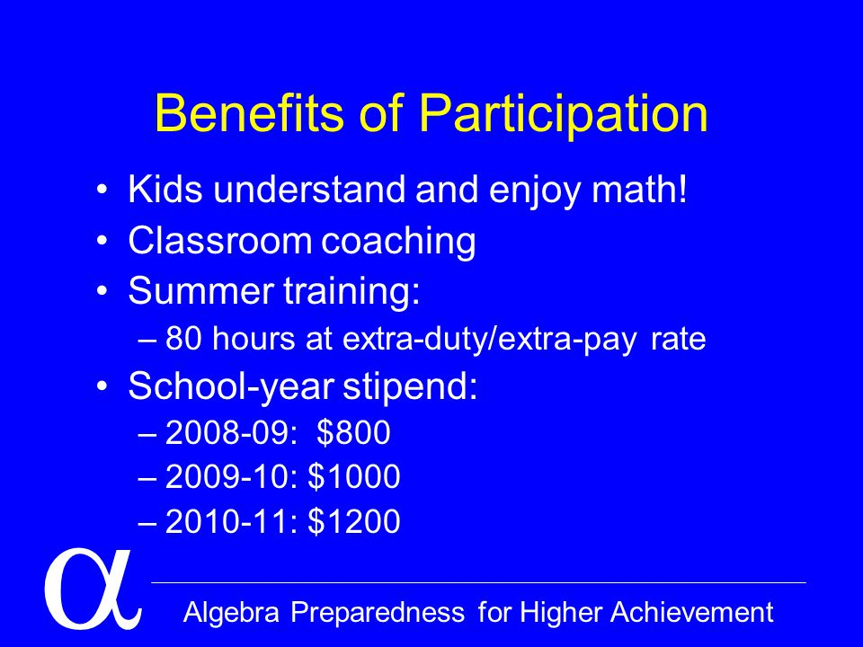  Algebra Preparedness for Higher Achievement Logistics Pay schedule: October 1 paycheck Sign-in sheets: Sign in by 8 AM Homework: Due at sign-in CSU Fullerton Extension Credit Emergency contact information: –Tor @ (626) 353-6729 –ERHS Front Office @ 562-801-5355 (B104)