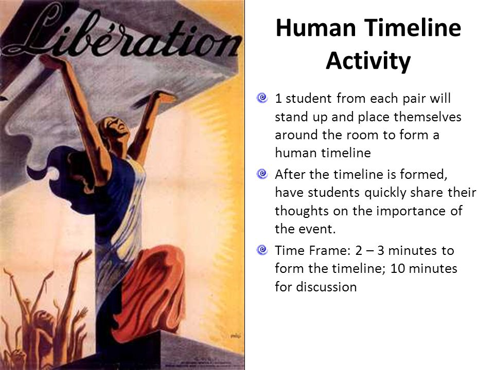 Human Timeline Activity 1 student from each pair will stand up and place themselves around the room to form a human timeline After the timeline is for