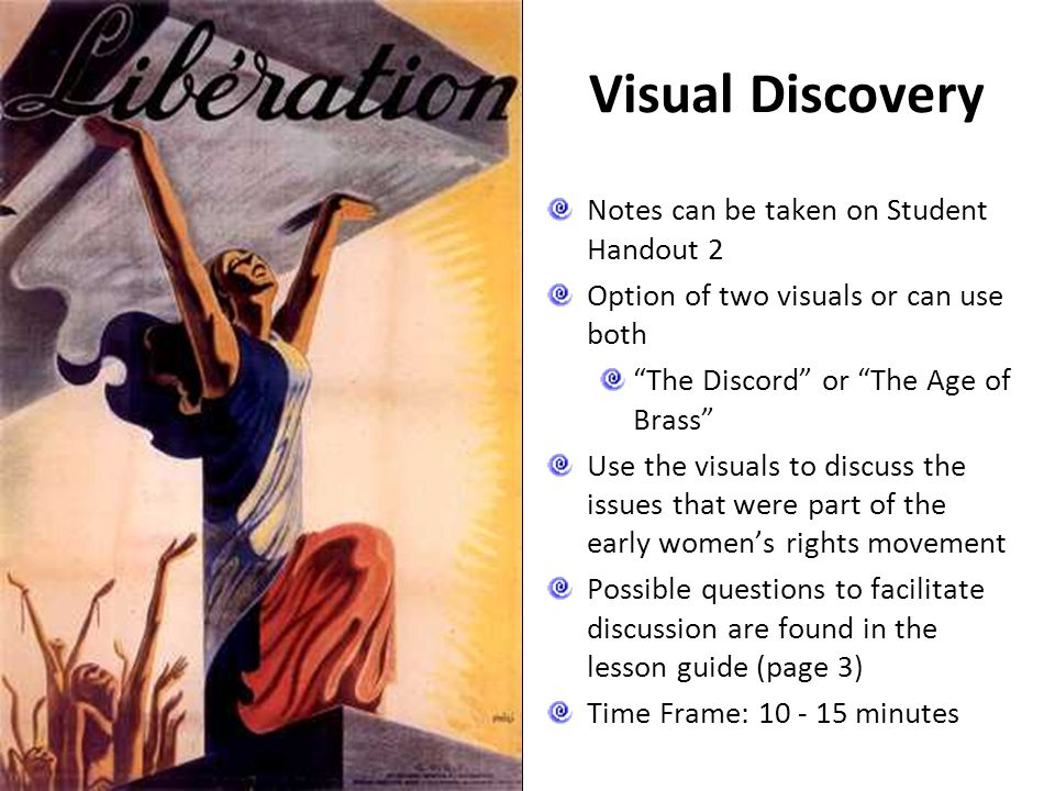 "Visual Discovery Notes can be taken on Student Handout 2 Option of two visuals or can use both ""The Discord"" or ""The Age of Brass"" Use the visuals to"