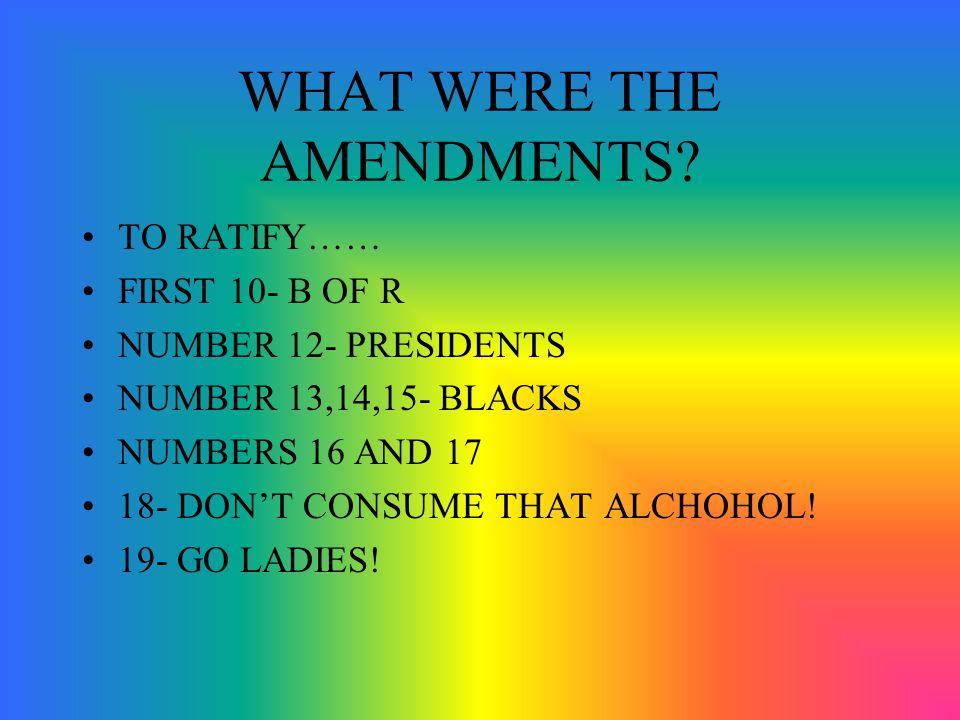 WHAT WERE THE AMENDMENTS.