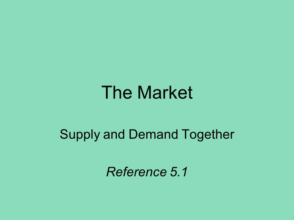 The Market Supply and Demand Together Reference 5.1
