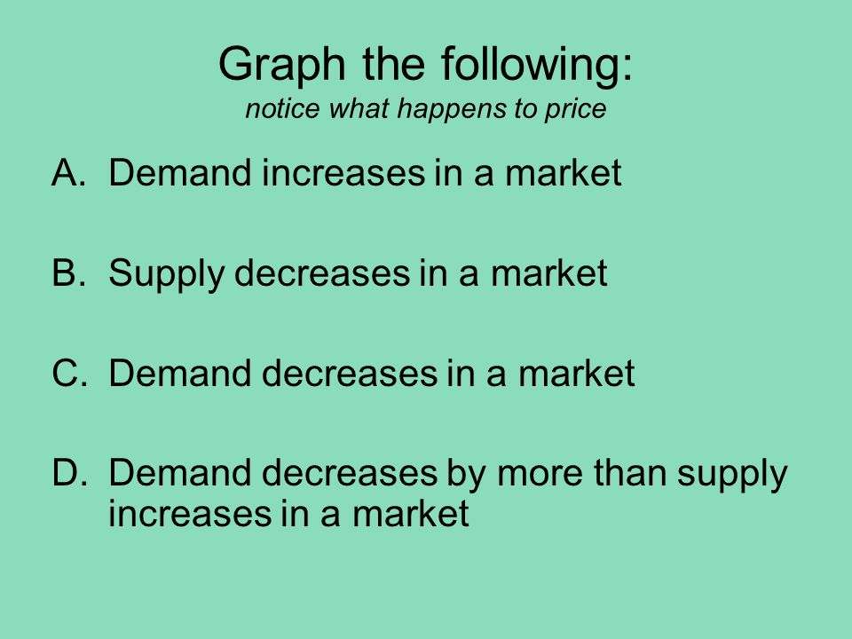Graph the following: notice what happens to price A.Demand increases in a market B.Supply decreases in a market C.Demand decreases in a market D.Demand decreases by more than supply increases in a market