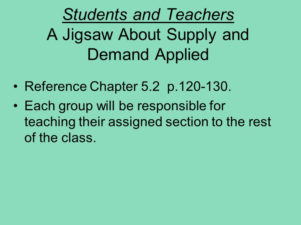 Students and Teachers A Jigsaw About Supply and Demand Applied Reference Chapter 5.2 p.120-130. Each group will be responsible for teaching their assi