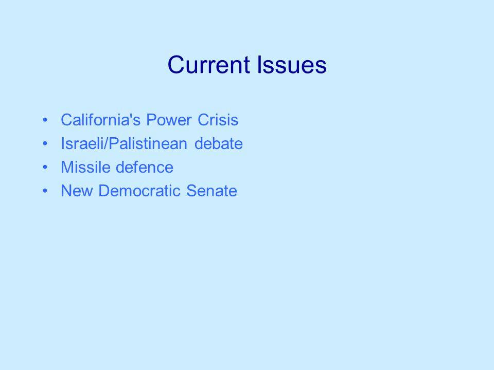 Current Issues California s Power Crisis Israeli/Palistinean debate Missile defence New Democratic Senate