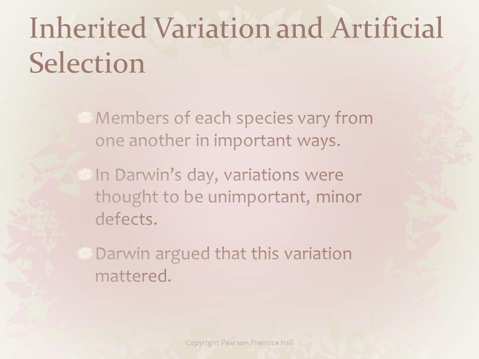 Inherited Variation and Artificial Selection Copyright Pearson Prentice Hall