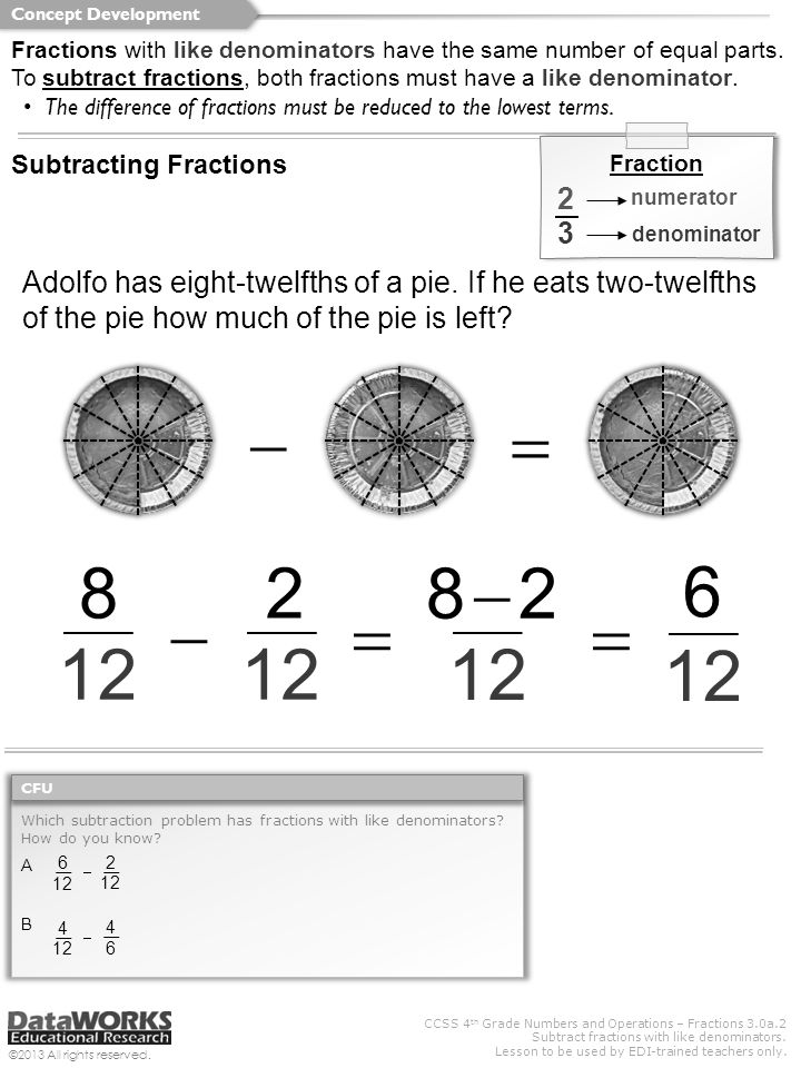 CCSS 4 th Grade Numbers and Operations – Fractions 3.0a.2 Subtract fractions with like denominators. Lesson to be used by EDI-trained teachers only. ©