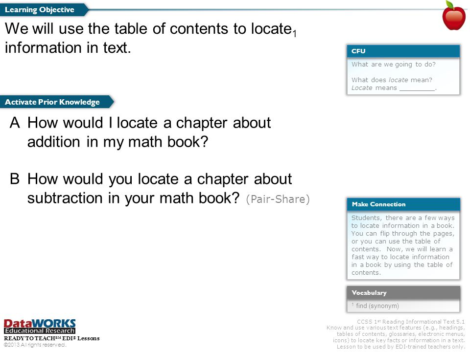 CCSS 1 st Reading Informational Text 5.1 Know and use various text features (e.g., headings, tables of contents, glossaries, electronic menus, icons)