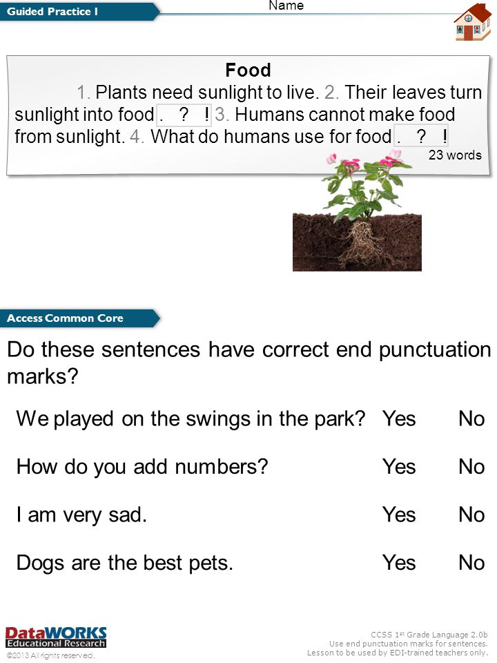 CCSS 1 st Grade Language 2.0b Use end punctuation marks for sentences. Lesson to be used by EDI-trained teachers only. ©2013 All rights reserved. Name
