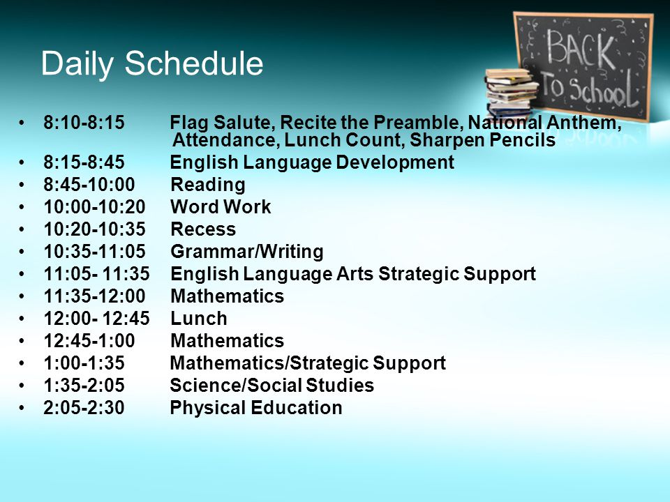 Daily Schedule 8:10-8:15 Flag Salute, Recite the Preamble, National Anthem, Attendance, Lunch Count, Sharpen Pencils 8:15-8:45 English Language Development 8:45-10:00 Reading 10:00-10:20 Word Work 10:20-10:35 Recess 10:35-11:05 Grammar/Writing 11:05- 11:35 English Language Arts Strategic Support 11:35-12:00 Mathematics 12:00- 12:45 Lunch 12:45-1:00 Mathematics 1:00-1:35 Mathematics/Strategic Support 1:35-2:05 Science/Social Studies 2:05-2:30 Physical Education
