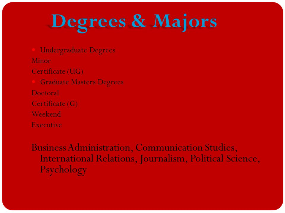 Undergraduate Degrees Minor Certificate (UG) Graduate Masters Degrees Doctoral Certificate (G) Weekend Executive Business Administration, Communication Studies, International Relations, Journalism, Political Science, Psychology